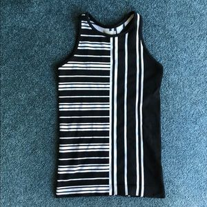 Athleta black and white striped tank top